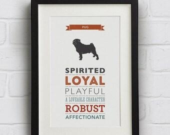 SALE 25% Off Pug Dog Breed Traits Print - Pug Gift