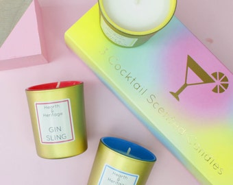 Cocktail scented candles, set of 3 in luxury gift box. Gin Sling, Blue Lagoon and Pina Colada.
