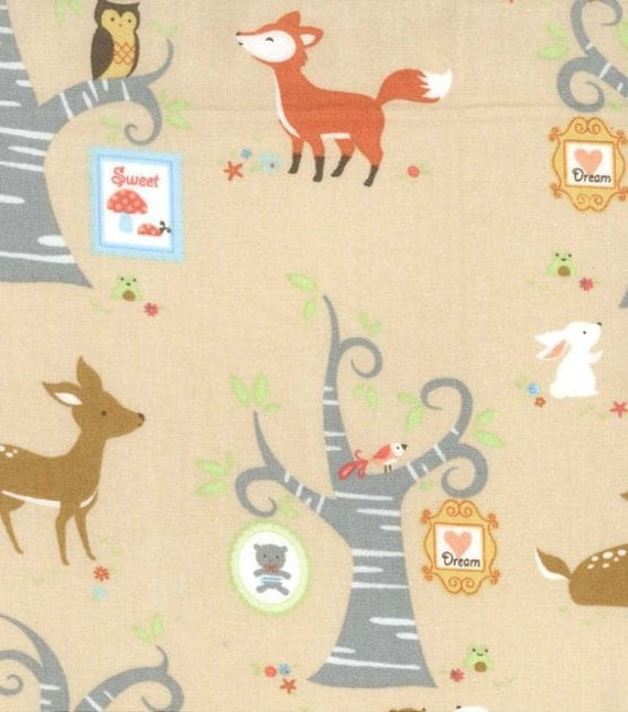 Fox fabric forest animals woodland theme quliting cotton for Baby themed fabric