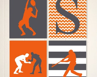 Wrestling wall art, tennis boy wall art, baseball wall art, boys room decor, boys wall art, sports art, set of 4, custom colors
