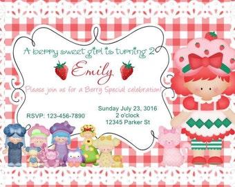Faux Strawberry Shortcake Invitation Template