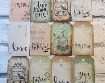 Mr &  Mrs Wedding wish tree tags / labels - Retro Vintage  | Wishing Tree | Love | Chic