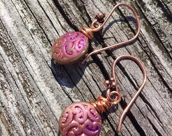 Copper wire wrapped glass bead earrings