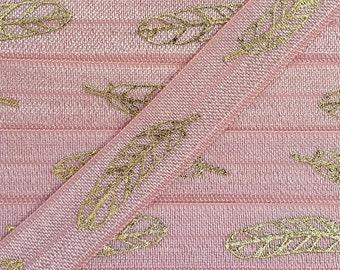 5/8 SWEET NECTAR Foil Feather Fold Over Elastic