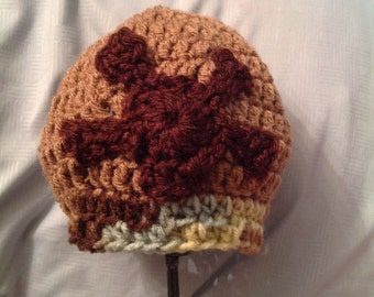 Brown and Green Skull and Crossbones Baby Hat 6-12 months