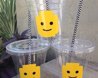 25 Plastic Lego Party Cups-12 oz