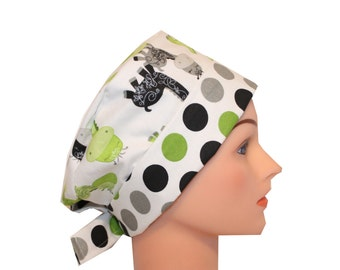 Scrub Hat Surgical Scrub Cap Chemo Hat w Tie Back Flirty Front Fold Pixie Style Lime Green Silver Gray Black Giraffes 2nd Item Ships FREE