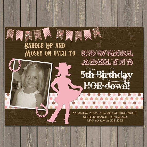 Cowgirl Birthday Invitation Western Birthday Invite Pink and Brown