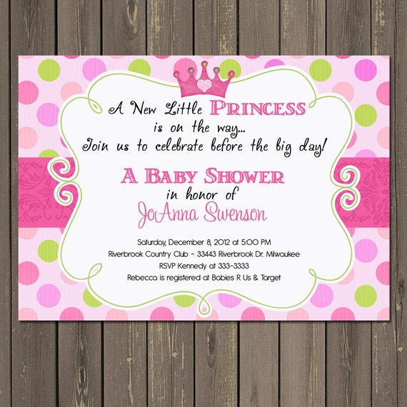 princess baby shower invitation pink polka dot princess shower invite