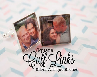 Custom Photo Cufflinks Square 20 mm Cuff links Personalized Gift in Silver and Antique Bronze