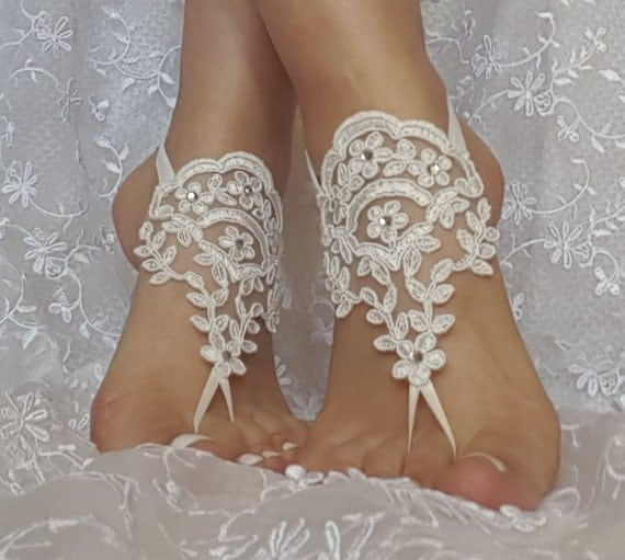 Free ship ivory lace rhinestone  boho beach barefoot sandals wedding prom party steampunk bangle beach anklets bangles