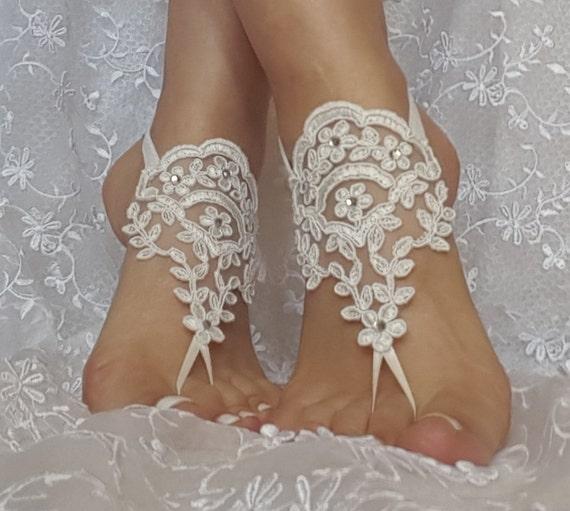 Free ship ivory lace rhinestone  boho beach barefoot sandals wedding prom party steampunk bangle beach anklets bangles