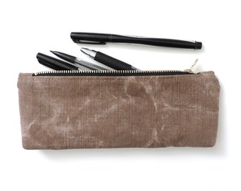 Recycled Pencil Case Zipper Pencil Pouch Distressed Canvas