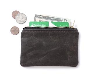 Waxed Canvas Wallet Coin Purse Zipper Pouch Slim Wallet