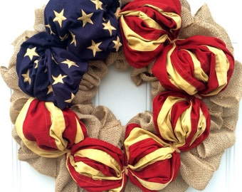 Patriotic Wreath Fourth Of July Wreath Americana Wreath Military Wreath Rustic Primitive Americana Flag Wreath Tea Stained Flag July 4th
