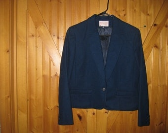 Vtg old tag USA Pendleton Fully lined Navy Crop Blazer 10 P free ship Classic Pendleton stays around forever