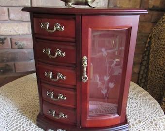 Beautiful Large Wood Jewelry Box Five Drawers.
