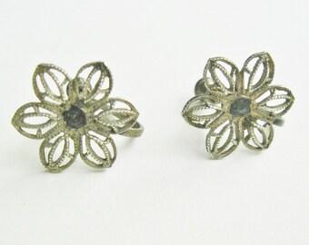 Antique Sterling Silver Earrings Screwback Earrings Flowers Vintage Jewelry Women's Gift Sterling Silver Wire Jewelry Estate Jewelry Earring