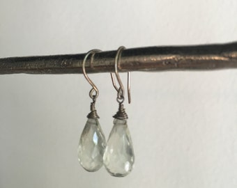 Sterling Silver White Topaz Briolette Earrings