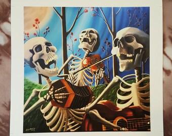 Bone Men Trio artist print//12x12//Surreal Art//10x10//High Quality Paper Print//Free Shipping in U.S.