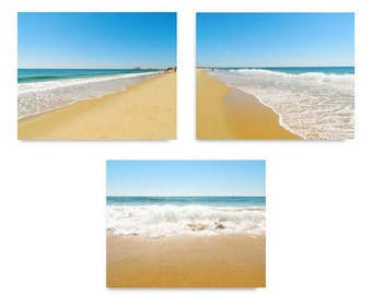 Beach Photograph Set - When Sky Meets The Ocean - Ocean Waves - Landscape - Nautical Decor - Ocean Art - Seashore - Horizon Beach - Nature