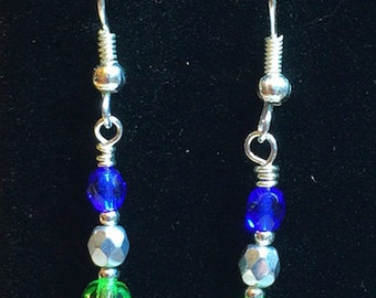 Seahawks NFL Football Twelfth Man Women's Blue and Green Custom Dangle Earrings with Swarovski Crystals on French Ear Wires - FREE SHIPPING
