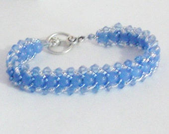 "Handmade Bead Woven Bracelet in Medium Blue with Chalcedony Stone Beads 8"" Long"