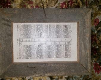 1867 Bible Framed With Repurposed Vintage Barnwood