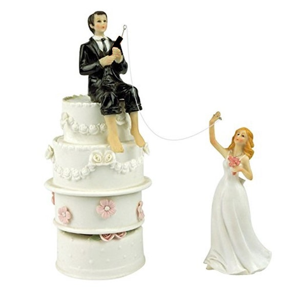 Funny Wedding Cake Toppers Fishing Groom And Bride Couple