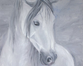 Digital Grey Horse Portrait JPG/horse art/download/