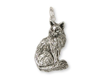 Maine Coon Cat Charm Handmade Sterling Silver Cat Jewelry MN2-C