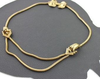 Vintage Brass Art Deco Inspired Chain Necklace