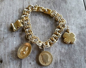 Monet Charm Bracelet with 4 Charms - Diploma, Praying Hands, Boy Silhouette, and 4-Leaf Clover