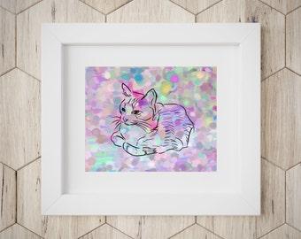 Pastel Cat Print