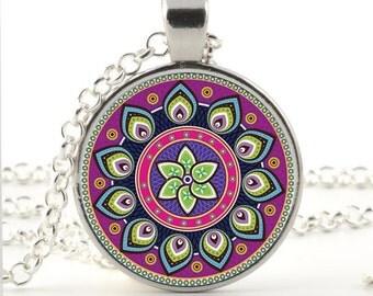 mandala glass picture pendant necklace