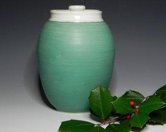 Ceramic/Cookie Jar/Canister/Turquoise Green & White/Handmade