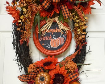 Oval Autumn Fall Grapevine Wreath