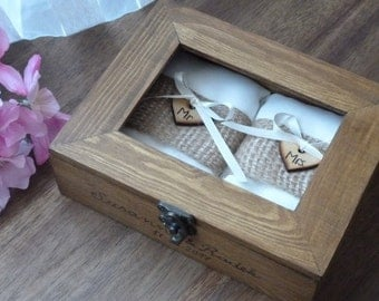 Personalized Wedding Ring Box Rustic Wooden Ring Box Wedding Ring Holder Double Ring Box with Engraved Hearts and photo frame.