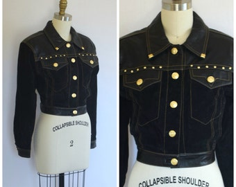 Cropped Suede and Leather Jacket/ Versace Style Studded Jacket/ Womens Size XS Small