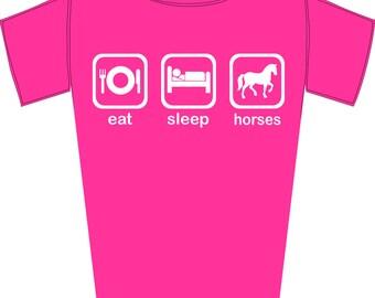 Girl's Eat, Sleep, Horses - Funny Horse Riding Fanatic T-Shirt
