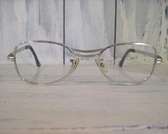 vintage univis 514 usa mid century style 10k gold filled silver color metal eyeglasses frames for men women white gold frame retro eyewear