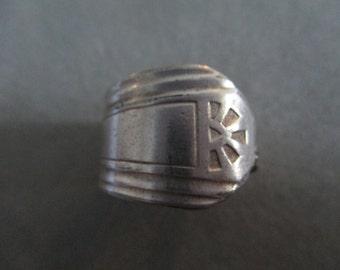 Retro Boho Geometric Silver Spoon Ring