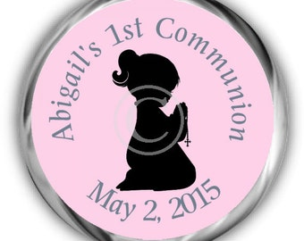 Girl First Communion Stickers - Personalized Communion Sticker - High Gloss candy Favors