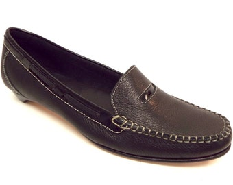 New Vintage Size 7 COLE HAAN Black Leather Penny Loafers Shoes