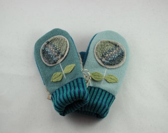 SMALL Repurposed Wool Unique Sweater Mittens, Women's, Turquoise Aqua Boiled Wool with Flowers, Purposely Mismatched