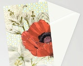 Greetings card, blank card, birthday card, handmade card, anniversary card,  artist card, Art, ' Poppies and Lilies'