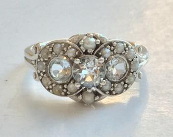Natural Three Stone Aquamarine and Seed Pearl Silver Ring
