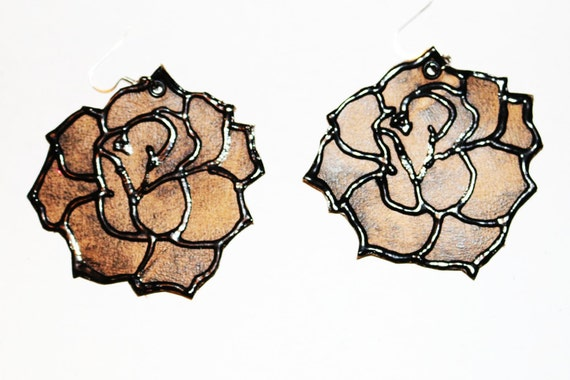 Earthy roses - Brown leather rose earrings.  Handpainted leather earrings