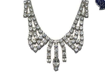 Dazzling Gale Creations Crystal Clear Rhinestone Necklace, 1950's Glamour