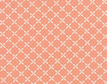 1/2 Yard - Summerfest Cotton Candy Orange Diamonds Fabric by April Rosenthal - 24033 41